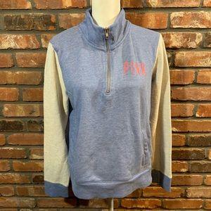 PINK Victoria's Secret Colorblock 1/4 Zip Pullover